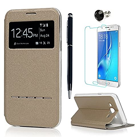 J5 Case, Galaxy J5 Cover ( 2015 Model ) - Lanveni PU Leather View Window Protective Flip Case with Inner Clear [ Full-Edged ] TPU Cover [Ultra Slim] [Metal Pop Element] Cover for Samsung Galaxy J5 with One Dust Plug + One Stylus Pen + One Screen Protector( Not for 2st Gen. 2016 Model ) - Gold