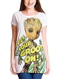 Guardians of the Galaxy Girlie Shirt Damen Get Your Groot On Loose Fit Elbenwald Baumwolle weiß