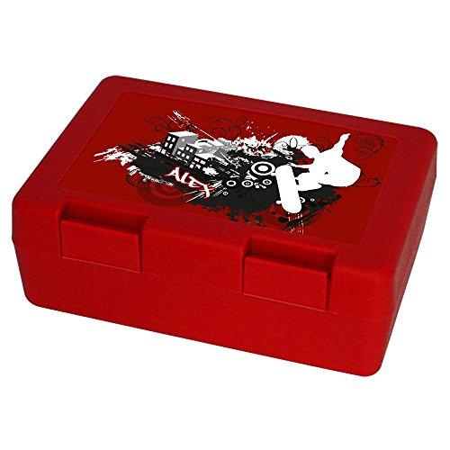 Brotdose mit Namen Alex und Skater-Motiv mit Skateboard und cooler Graffiti-Schrift für Jungen - Brotbox - Vesperdose - Vesperbox - Brotzeitdose mit Vornamen
