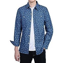 Allegra K Camisa Para Hombres Manga larga Diseño De Ancla De Dril Botón Arriba Delgado Ajuste - Azul Marino/M (US 40),M (EU 50)