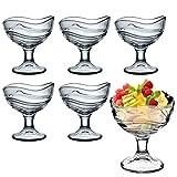Juego de 6cuencos de vidrio, para aperitivos y postre o helado, vasos de cóctel
