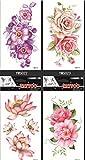 GGSELL GGSELL wasserdicht und nicht toxisch temporäre Tattoos 4pcs temporäre Tattoos in einem Paket Bunte Blumen temporäre Tattoos, es einschließlich Pfingstrose, Lotus, Rosen usw.
