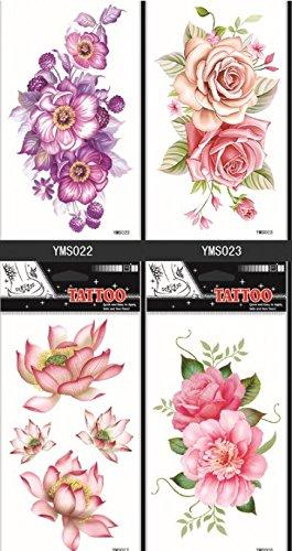 GGSELL GGSELL wasserdicht und nicht toxisch temporäre Tattoos 4pcs temporäre Tattoos in einem Paket Bunte Blumen temporäre Tattoos, es einschließlich Pfingstrose, Lotus, Rosen usw. (Temporäre Bunte Tattoos)