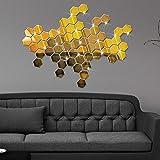 Deloito 12 Stück 3D Spiegel Hexagon Vinyl Entfernbar Wandaufkleber Aufkleber Startseite Dekor Kunst DIY (Gold, 46 * 40 * 23mm)