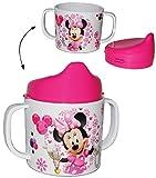 Trinklernbecher - Disney Minnie Mouse - Melamin - rosa für Mädchen - Tasse mit abnehmbaren Deckel - für Baby auslaufsicher - Trinklerntasse Maus / Trinkbecher Kleinkinder - Kindergeschirr - Playhouse