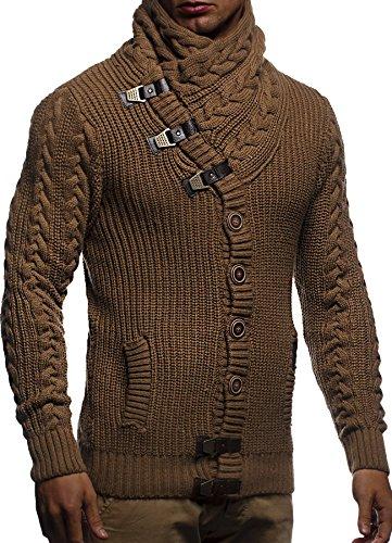 LEIF NELSON Herren Strickjacke Jacke Sweatjacke FBA7080; Gr_¤e M, Camel