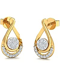 Stylori 18k Yellow Gold and Diamond Swirly Flora Stud Earrings