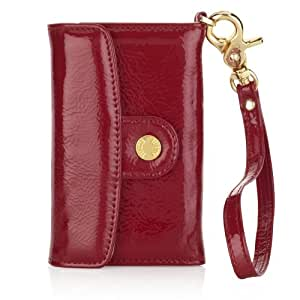 Pipetto P015-13 Luxury Patent Leder Wallet für Apple iPhone 4/4S rot