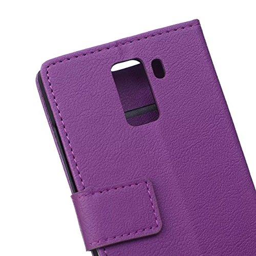 Kas Texture Pattern Kunststoff PU Ledertasche horizontale Flip Ständer Case Wallet Fall Deckung Solid Color Case Für Huawei Honor 7 ( Color : White , Size : Huawei Honor 7 ) Purple