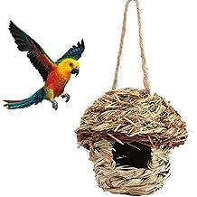Fdit Jaula de nido de paja tejida a mano para pájaros o pájaros en 3 tamaños