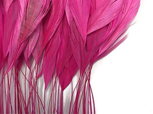ERGEOB schwarz abgestreift Coque Schwanz Federn 10-15cm/4-6 Zoll Länge Basteln Material Kopfschmuck Brosche Material rosa