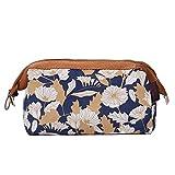 Gdcat borsa da viaggio cosmetica da donna marrone fiori e foglie sacchetto cosmetico cerniera sacchetto cosmetico sacchetto di immagazzinaggio di cancelleria può essere collocato in posizione piatta