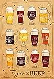 Schatzmix Types of Beer Bier Sorten übersichtskarte mit helle Hintergrund blechschild