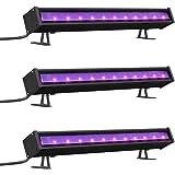 Onforu 3 Barres LED UV 24W, Tube LED Lumière Noire, Lumière DJ Disco, Barre de Lumières UV 220V, 48 LED Ultra Violet, Idéale pour Halloween Noël Soirée Body Painting Peinture Maquillage Fluo