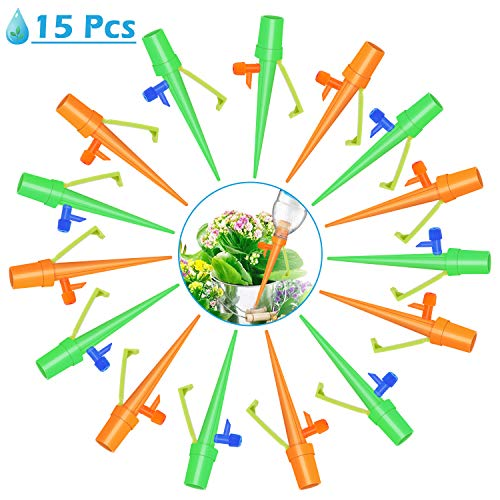 Irrigazione a Goccia,15Pcs Regolabile Strumento di Irrigazione Automatico a Goccia Dispositivo Sistema d'irrigazione automatico per l'irrigazione Domestica Il Controllo dell'Acqua per Piante e Fiori