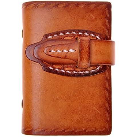 ZLYC fatta a mano in pelle conciata al vegetale, sottile, a portafoglio con porta carte di credito