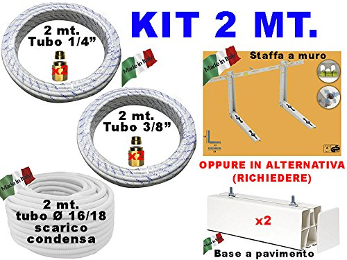 INSTALLATION KIT CONDITIONER 2 TUYAUX CUIVRE 1/4 3/8 MT TUBE SUPPORT de MONTAGE CONDENSATS