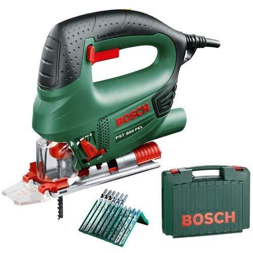 Bosch Home and Garden 06033A0101 Pendel-Stichsäge 530W PST 800 PEL im Koffer mit einem Set von 10 Sägeblättern inklusive, 530 W, 230 V, Multi