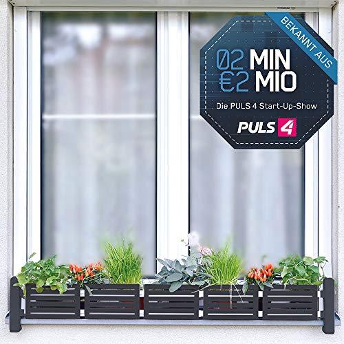 Mediashop Masu Fensterbank Blumenkasten antrazith Begrünung Balkon Kräutergarten urban Gardening Raumbegrünung variabel von 78 cm bis 130 cm | 2 Minuten 2 Millionen | Powered by