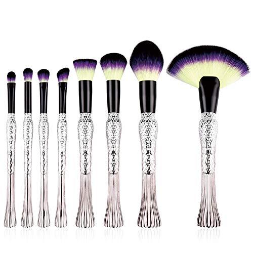 Leisial 8pcs Pinceaux Maquillages Professionnel pour Yeux et Visage Nylon Tube en Aluminium Kit Pinceaux Maquillages