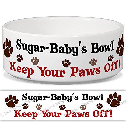sugar-baby 's Schüssel-Keep Your Paws Off. Personalisiert Name Keramik Pet Futternapf-2Größen erhältlich