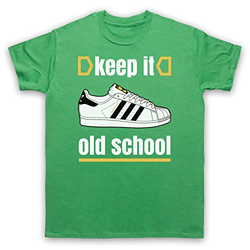 Keep It Old School Retro Superstar Slogan Herren T-Shirt Grun