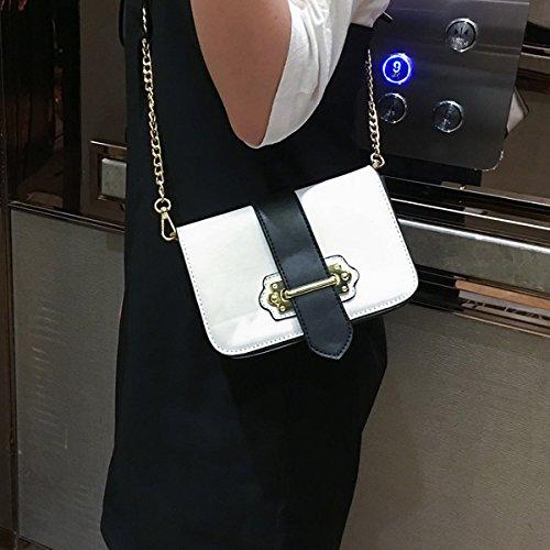 frauen Mit schnalle Kette kleine quadratische tasche Schulter messenger bag mode-paket Weiß