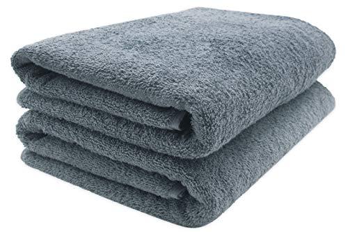 Zollner 2 asciugamani per la sauna, grigio, 70x200 cm, cotone, tanti colori
