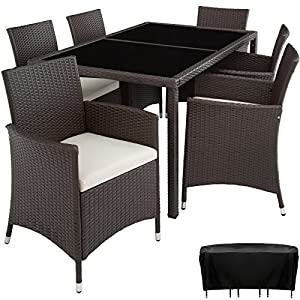 TecTake Poly Rattan garden furniture garden dining set 6+1 | protection slipcover | stainless steel screws