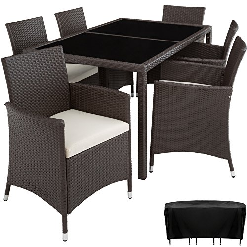 TecTake Poly Rattan garden furniture garden dining set 6+1 | protection slipcover | stainless steel screws (Mixed brown | no. 402059)