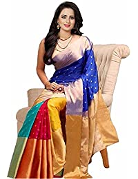 Shreeji Ethnic Women's Art Silk Colour Block Saree With Blouse Piece (A-Seat Dowan_Multicoloured_Free Size)