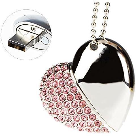 MaXinDa Sliver Forma de Corazón Memoria USB de 16GB/32GB/64GB Memory Drive Cristal de Flash USB Palillo (16GB,