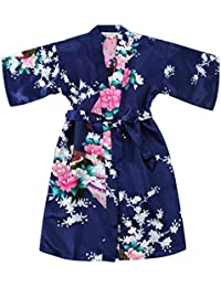 Girls  Satin Kimono Robe - Peacock and Blossoms Bathrobes Dressing Gown for  Spa Wedding Birthday cd6a66025