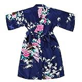 Mädchen Morgenmantel Satin Kimono Robe Bademantel Nachtwäsche mit Pfau und Blumen