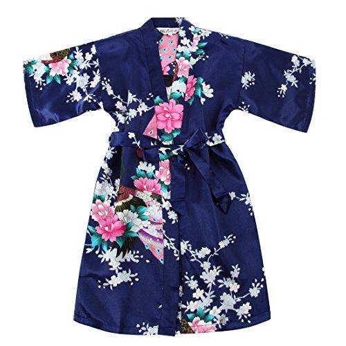 Mädchen Morgenmantel Satin Kimono Robe Bademantel Nachtwäsche mit -