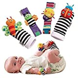 Uooker Cute Animal Soft Baby Socks Toys Wrist Rattles and Foot Finders for Fun Reindeer - Set 4Pcs Baby Infant Soft Toy