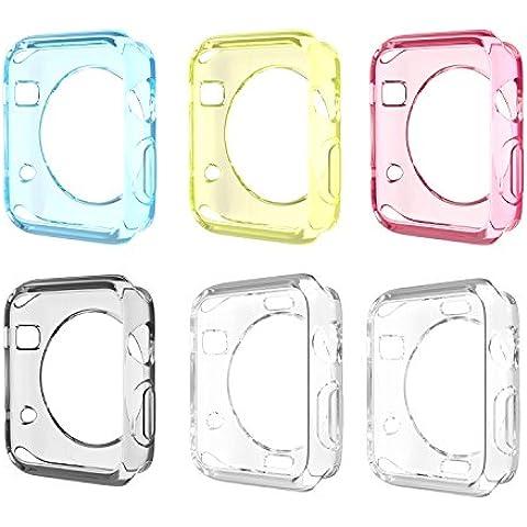 Apple Watch SERIES 1 / 2 Funda 38mm - [6-Paquete] Ultra Slim Flexible Suave TPU Transparente iWatch Cover Case para Apple Watch 38mm Versión 2015 / 2016, Cristal Claro & Multi Colores (No Apta a 42mm)