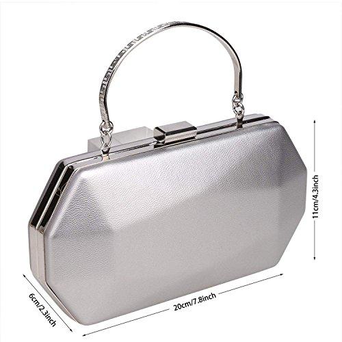 ZEARO Abendtaschen Damen Clutch klassische Handtasche Umhängetasche Brauttasche mit Kette Silber