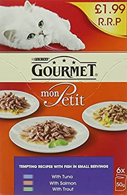 Gourmet Adult Wet Cat Food Pouch Tuna/Salmon/Trout Pouch, 6 x 50 g - Pack of 8 from Yes