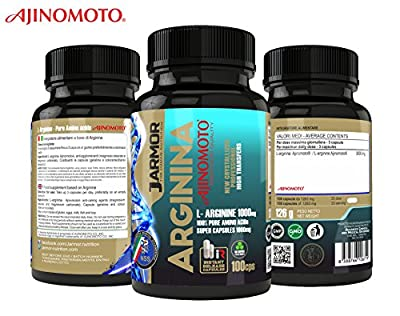 Supplement J.Armor Arginine Ajinomoto purissima Top Quality 100 Super-capsules of 1000mg Sexual vigor - Muscle growth - Strength and recovery - Nitric oxide - Crystallized High Tranfers instantaneous release High dosage 3000mg per dose by J.Armor Nutritio