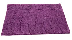 Textile Décor Castle Hill Bath Mat with Spray Latex Backing, New Tile Design, 17 by 24-Inch, Aubergine