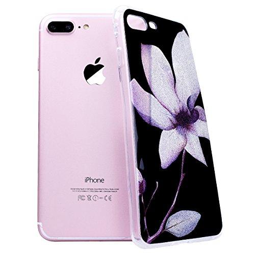 """WE LOVE CASE iPhone 7 Plus Hülle Glitzern Transparent Durchsichtig Farbe iPhone 7 Plus 5,5"""" Hülle Silikon Weich Diamond Handyhülle Tasche für Mädchen Elegant Backcover , Soft TPU Flexibel Case Handyco Magnolia"""