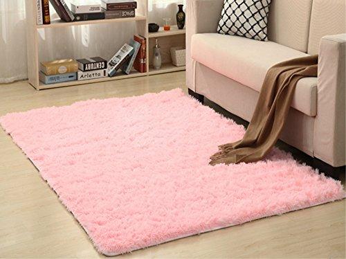 Alfombras modernas super suaves de la pelusa, 80X120 CM, dormitorio Sala de estar Alfombra antideslizante Alfombra de la alfombra para el juego de los niños Decora el (Rosa)
