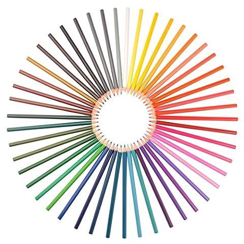Ensemble de 48 crayons aquarelle - Assortiment de couleurs vibrantes, utilisés par les artistes, les designers et les adultes faisant du coloriage. Pinceau et taille-crayon gratuits. Fils forts, facile à mélanger. Non-toxique. Garantie satisfait ou