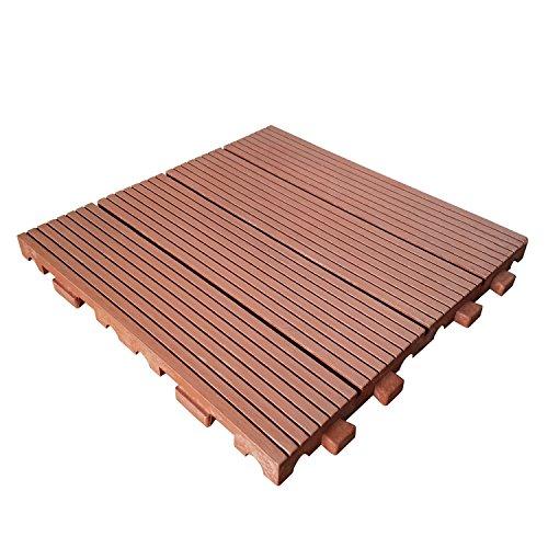 WPC Holzfliese 30x30 cm Terrassenfliese Terrassendiele Holz Fliese Stecksystem WPC-W03 Teak Brown