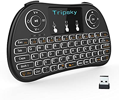 Tripsky T9 retroiluminado Mini teclado inalámbrico, mando a distancia de mano con touchpad Ratón para Android TV Box, Windows PC, HTPC, IPTV, Raspberry Pi, Xbox 360, PS3, PS4 (negro)