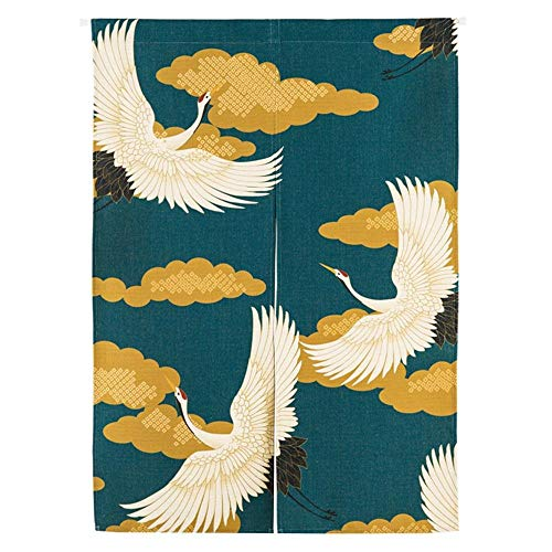 Eastery Japanische Noren Vorhang Türvorhang Tapisserie Fliegen Insektenvorhang Raumteiler Hokusai Ukiyoe Einfacher Stil 85X90Cm (Color : Kran, Size : 85 * 120Cm) -