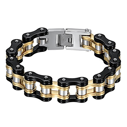 JewelryWe Schmuck Herren Biker Kette Armband, Groß Schwer DREI Töne Hochglanz Poliert Fahrradkette Motorradkette Armkette Armreif aus Edelstahl, Schwarz Gold Silber - Silber-gold-ton