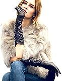 YISEVEN Damen Touchscreen Lang Lederhandschuhe Faltig Lammfelll mit Warm Gefüttert Elegant Winter Leder Autofahrer Handschuhe, Schwarz Mittel/7.0'