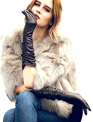 YISEVEN Damen Touchscreen Lang Lederhandschuhe Faltig Lammfelll mit Warm Gefüttert Elegant Winter Leder Autofahrer Handschuhe, Schwarz Klein/6.5